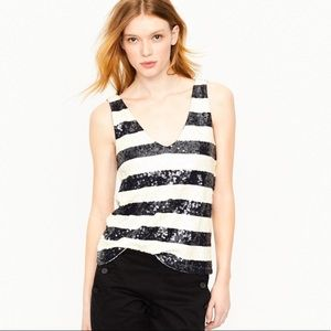 J.Crew navy and white sequin tank. Large